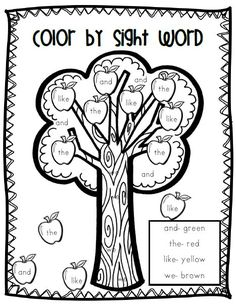 Fall Color by Sight Word | began working on sight words so i created this color by sight word ...