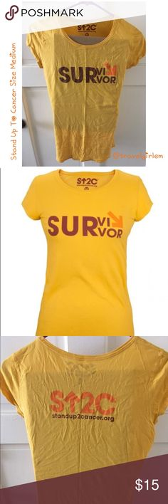 Woman's S⬆️2C Survivors Shirt Dark Yellow Medium In excellent condition, I am willing to trade for a large! It's wrinkled from storage. Stand Up To Cancer Tops Tees - Short Sleeve