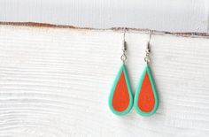 FREE SHIPPING Handpainted arrings Mint Red Turquoise by MagicTwirl
