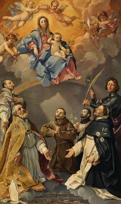 Madonna Enthroned With Saints Art Print by Reni Guido Francis Xavier, St Francis, Santa Cecilia, Italian Painters, Italian Artist, Madonna, St Ignatius Of Loyola, Saint Dominic, Francis Of Assisi