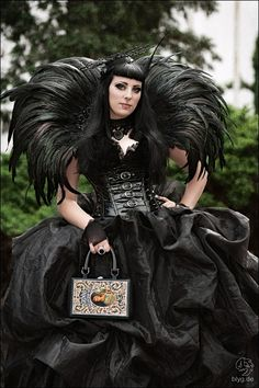 Extreme feather collar and skirt.