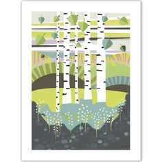 Birch Forest Poster: Add a pop of colour to your wall with Jenny Wallmark's striking poster that features a Swedish birch forest peppered with lily of the valley. The bold shapes and carefully considered colours will whisk you off to the calm and tranquil setting of the Scandinavian woodland.