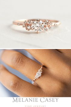 Moissanite Wedding Engagement Ring Set Rose Gold Wedding Rings Princess Moissanite Engagement Ring - Fine Jewelry Ideas - A unique engagement ring featuring a round brilliant diamond accented by clusters of white d - Dream Engagement Rings, Rose Gold Engagement Ring, Engagement Ring Settings, Vintage Engagement Rings, Wedding Engagement, Wedding Rings Vintage, Wedding Rings Simple, Vintage Promise Rings, Simple Elegant Engagement Rings