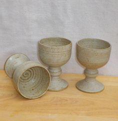 Wine goblet hand thrown stoneware water pottery ceramic