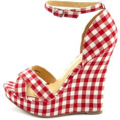 Fourever Funky Red Plaid Cross-Front Gingham Fabric Wedge Sandals (€20) ❤ liked on Polyvore featuring shoes, sandals, wedges, heels, red, wedge heel sandals, red high heel sandals, high heels sandals, high heel shoes and high heeled footwear