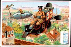 artistic vintage advertisements | Vintage French Advertising art. Flying machines, 19th Century. French ...