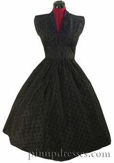 Vintage 40s 50s Black Taffeta Full Skirt Swiss Dot Dress