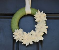 Christmas Wreath  Christmas Yarn Wreath in Green by KutItOutCrafts, $35.00