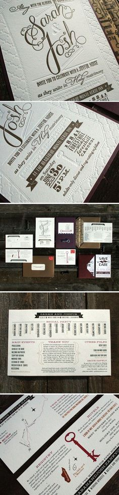 Josh and Sarah DIY letterpress invitations - calligraphy made into one plate for ink + another plate for embossing