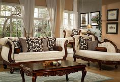 Windsor Cream Living Room Sofa and Chaise Furniture Set, Wood Trim, Free Ship
