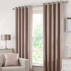 Dunelm Solar Blackout Beige Polyester Eyelet Curtains (W x Drop Kids Curtains, Cool Curtains, Blackout Eyelet Curtains, Home Decor, Curtains, Blinds For Windows, Curtain Accessories, Brown Living Room, Beige Curtains