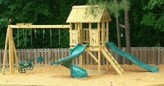 Backyard Playground | Hand Crafted Wooden Playsets - Gallery - great layout for the boys.