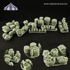 Food supplies perfect for 28mm scale miniatures! Boxes, bottles, wrapped packages, barrels and many more - Great for terrains :)