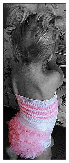 Old Skool Cool~ white with pink stripes and pink chiffon ruffle butt to match.