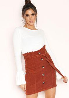 40ecf50143 Missyempire - Rene Rust Corduroy Button Up Skirt Button Up Skirts