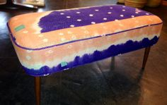 MCM style bench covered in vintage kantha quilt.  Our own.