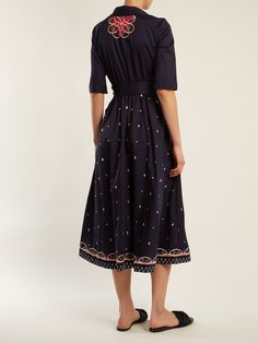 Click here to buy Temperley London Divine floral-embroidered tie-waist cotton dress at MATCHESFASHION.COM