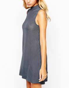 Image 3 of Boohoo High Neck Ribbed Swing Dress