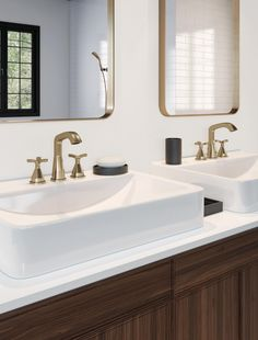 With subtly upturned spout and handles, the Stryke Bath Collection radiates confidence and composure with an assured stature and ascending contours. Bronze Bathroom, Bathroom Faucets, Modern Bathroom, Small Bathroom, Beige Bathroom, Minimalist Bathroom, Bathroom Shelves, Bathroom Trends, Bathroom Renovations