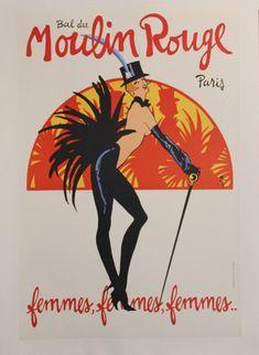 Original Vintage French Poster - Moulin Rouge Femmes by Rene Gruau 1970