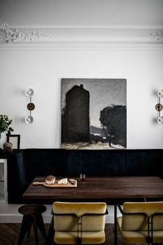 Dining area in a masculine elegant Paris home by Jean Charles Tomas | Photography ©️️ Benoit Linero Home Interior, Modern Interior Design, Interior Decorating, Interior Architecture, Yellow Interior, Decorating Ideas, French Interior, Apartment Interior, Dining Nook