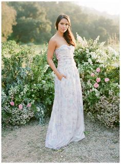Floral bridesmaid dress with pockets by PPS Couture by Plum Pretty Sugar. Image by Jose Villa.