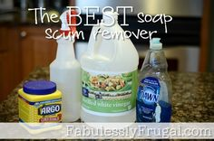 The Best Soap Scum Remover Cleaning Recipe http://fabulesslyfrugal.com/2012/06/the-best-soap-scum-remover-diy-picture-tutorial.html
