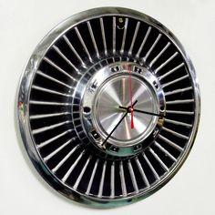 vintage hubcap clock