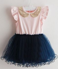 +Features+a+navy+skirt+tulle+tutu+skirt,light+pink+top+with+adorned+gold+peter+pan+collar,+also+comes+in+navy+top+with+white+tutu+skirt.+ For faith Fashion Kids, Baby Girl Fashion, Toddler Girl Dresses, Little Girl Dresses, Girls Dresses, Toddler Girls, Toddler Tutu, Baby Dresses, Girls Gold Dress