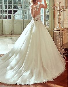 Dressylady Illusion Sheer Back Appliques Tulle Ball Gown Wedding Dress for Bride at Amazon Women's Clothing store: