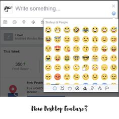 New Facebook Feature |  I love a good emoji... I noticed this today on my page - have you got this? It's a little emoji icon on the right hand side of the status box and it opens up this emoji menu pictured. How fun!  I have been using getemoji to insert emoji into my posts on desktop - but I guess I don't need to copy and paste them anymore!  It's new to my page but sometimes Facebook rolls things out in waves so others might have had it for a while. Have you got it?  What do you think?