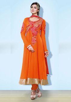 Orange Georgette Chuddidar Kameez with Dupatta SRT1819 - Salwar Kameez   Desi Butik