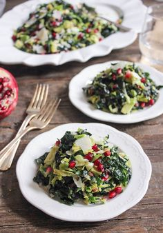 Kale and Brussels Sprout Salad with Pomegranate and Avocado
