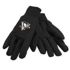 NHL Pittsburgh Penguins Solid Color Utility Gloves, Black  https://allstarsportsfan.com/product/nhl-pittsburgh-penguins-solid-color-utility-gloves-black/  Officially Licensed Embroidered Team Color Logo Machine Washable 100% Polyester