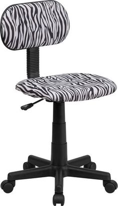 Flash Furniture BT-Z-BK-GG Black and White Zebra Print Computer Chair