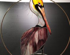 Great Blue Heron stained glass suncatcher panel by BirdsAndBugs1