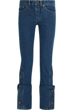 Dark-blue denim Partially concealed button fastenings along front 100% cotton Dry clean Imported