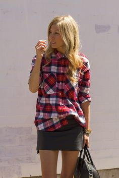 PLAID SHIRT LEATHER SKIRT