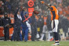 Wide receiver Emmanuel Sanders #10 of the Denver Broncos celebrates after a first down reception against the New England Patriots at Sports Authority Field at Mile High on November 29, 2015 in Denver, Colorado.