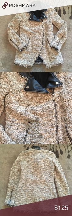 """Zara Combined Jacket Size XS Amazing Moto style jacket/cardigan with """"looped"""" voice details and faux leather trim.   Silver tone zips on sleeves and faux black leather shoulder details.  Multicolor; please see close up in pics.  Last pic is for fit reference.  Please feel free to ask questions.  Reasonable offers welcome and I am a top rated, fast shipper.  Bundle discounts also! Zara Jackets & Coats"""