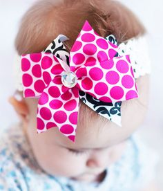 Pink and black damask  baby hair bow.. boutique bow Clip ... baby headband. A perfect hairbow for infant, toddler and little girls via Etsy