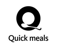 かっこいいロゴマーク作成デザイン, Quick meals, アルファベット, Q, サンセリフ(ゴシック体), 飲食店・食品業, 丸(円形), キッチン用品, 食器, お皿, スプーン