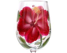 Verre à vin rouge Hibiscus peints à la main