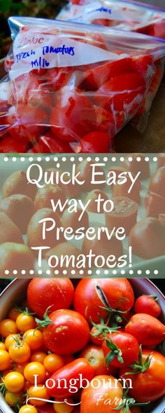 Looking for a quick easy way to preserve tomatoes? Freeze the tomatoes raw…