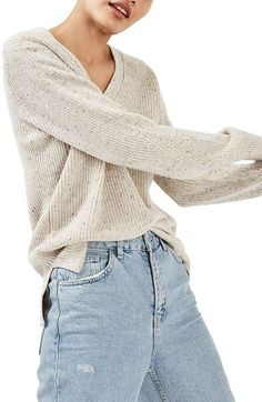 Women's Topshop Ribbed V-Neck Sweater