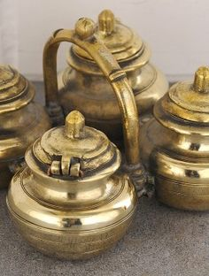 Vintage Brass Four in One Masala Container 7.5in x 7.5in x 4.1in