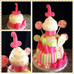 square tiers minus the 1 at the top - use the cupcake for her smash cake 1st Birthday Cakes, Baby Birthday, Birthday Ideas, Birthday Parties, Lollipop Cake, Cupcake Cakes, Cupcakes, Cake Decorating, Decorating Ideas