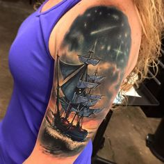 Pirate Ship by Jesse Rix Tattoos. Best Sleeve Tattoos, Arm Tattoos, Body Art Tattoos, I Tattoo, Tattoo Ship, Pirate Tattoo Sleeve, Ship Tattoo Sleeves, Trendy Tattoos, Tattoos For Women