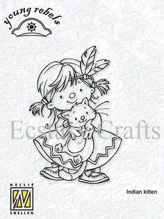Nellie Snellen Clear Stamp - Young Rebel Indian Girl with Kitten