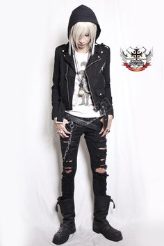 I want these pants! UNISEX UK Punk Denim Vegan Biker Rider JACKET+HOOD 2pc from REFUSE TO BE USUAL